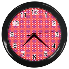 Roll Circle Plaid Triangle Red Pink White Wave Chevron Wall Clocks (black)