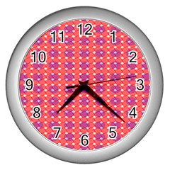 Roll Circle Plaid Triangle Red Pink White Wave Chevron Wall Clocks (silver)