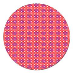 Roll Circle Plaid Triangle Red Pink White Wave Chevron Magnet 5  (Round)