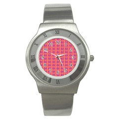 Roll Circle Plaid Triangle Red Pink White Wave Chevron Stainless Steel Watch