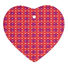 Roll Circle Plaid Triangle Red Pink White Wave Chevron Heart Ornament (Two Sides)