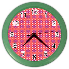 Roll Circle Plaid Triangle Red Pink White Wave Chevron Color Wall Clocks