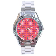 Roll Circle Plaid Triangle Red Pink White Wave Chevron Stainless Steel Analogue Watch