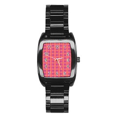 Roll Circle Plaid Triangle Red Pink White Wave Chevron Stainless Steel Barrel Watch