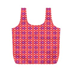 Roll Circle Plaid Triangle Red Pink White Wave Chevron Full Print Recycle Bags (M)