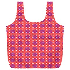 Roll Circle Plaid Triangle Red Pink White Wave Chevron Full Print Recycle Bags (L)