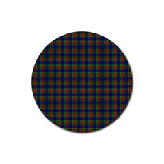 Tartan Fabrik Plaid Color Rainbow Rubber Coaster (Round)