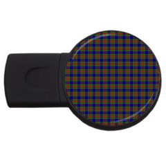 Tartan Fabrik Plaid Color Rainbow Usb Flash Drive Round (2 Gb)