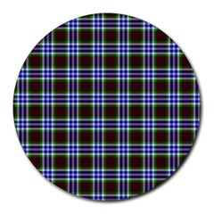 Tartan Fabrik Plaid Color Rainbow Triangle Round Mousepads