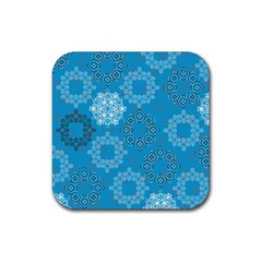 Flower Star Blue Sky Plaid White Froz Snow Rubber Square Coaster (4 pack)