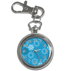 Flower Star Blue Sky Plaid White Froz Snow Key Chain Watches