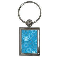 Flower Star Blue Sky Plaid White Froz Snow Key Chains (rectangle)