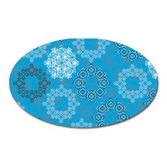 Flower Star Blue Sky Plaid White Froz Snow Oval Magnet