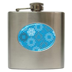 Flower Star Blue Sky Plaid White Froz Snow Hip Flask (6 Oz)