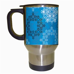 Flower Star Blue Sky Plaid White Froz Snow Travel Mugs (white)