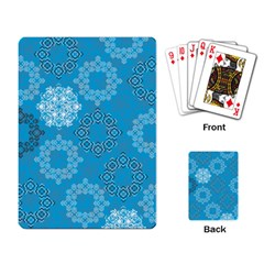 Flower Star Blue Sky Plaid White Froz Snow Playing Card