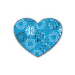 Flower Star Blue Sky Plaid White Froz Snow Heart Coaster (4 pack)