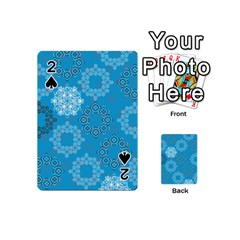Flower Star Blue Sky Plaid White Froz Snow Playing Cards 54 (Mini)