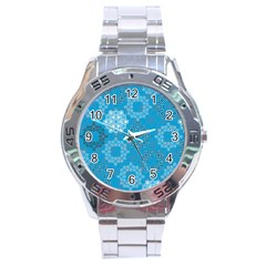Flower Star Blue Sky Plaid White Froz Snow Stainless Steel Analogue Watch