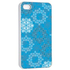 Flower Star Blue Sky Plaid White Froz Snow Apple iPhone 4/4s Seamless Case (White)
