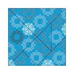 Flower Star Blue Sky Plaid White Froz Snow Acrylic Tangram Puzzle (6  x 6 )