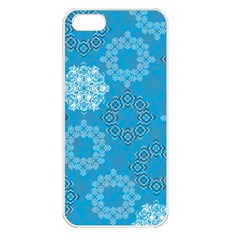 Flower Star Blue Sky Plaid White Froz Snow Apple iPhone 5 Seamless Case (White)
