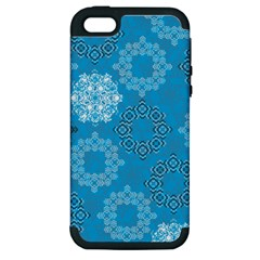 Flower Star Blue Sky Plaid White Froz Snow Apple iPhone 5 Hardshell Case (PC+Silicone)