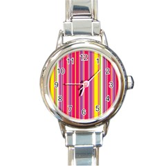 Stripes Colorful Background Round Italian Charm Watch