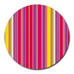 Stripes Colorful Background Round Mousepads