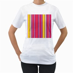 Stripes Colorful Background Women s T-Shirt (White) (Two Sided)