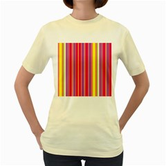 Stripes Colorful Background Women s Yellow T-Shirt
