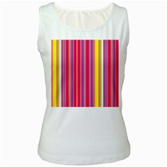 Stripes Colorful Background Women s White Tank Top