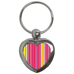 Stripes Colorful Background Key Chains (heart)