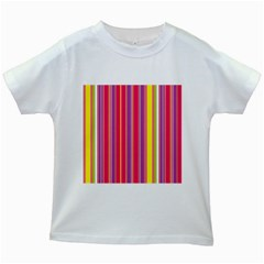 Stripes Colorful Background Kids White T-Shirts