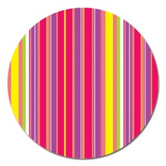 Stripes Colorful Background Magnet 5  (Round)