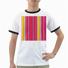 Stripes Colorful Background Ringer T-Shirts