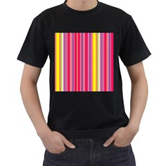 Stripes Colorful Background Men s T-Shirt (Black) (Two Sided)