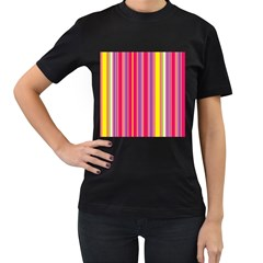 Stripes Colorful Background Women s T Shirt (black) (two Sided)