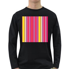 Stripes Colorful Background Long Sleeve Dark T-Shirts