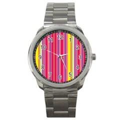Stripes Colorful Background Sport Metal Watch
