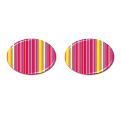 Stripes Colorful Background Cufflinks (oval)