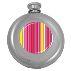 Stripes Colorful Background Round Hip Flask (5 oz)