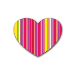 Stripes Colorful Background Rubber Coaster (Heart)
