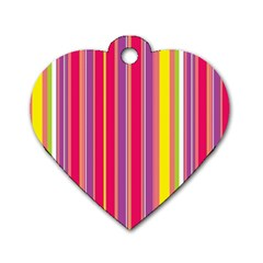 Stripes Colorful Background Dog Tag Heart (one Side)