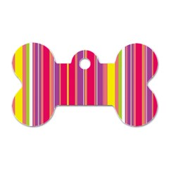 Stripes Colorful Background Dog Tag Bone (One Side)