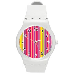 Stripes Colorful Background Round Plastic Sport Watch (M)