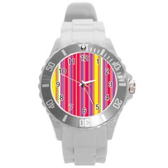 Stripes Colorful Background Round Plastic Sport Watch (l)