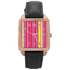 Stripes Colorful Background Rose Gold Leather Watch