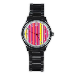 Stripes Colorful Background Stainless Steel Round Watch