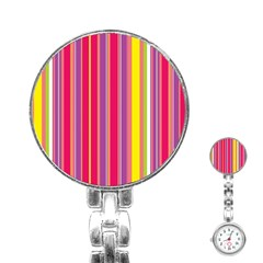 Stripes Colorful Background Stainless Steel Nurses Watch